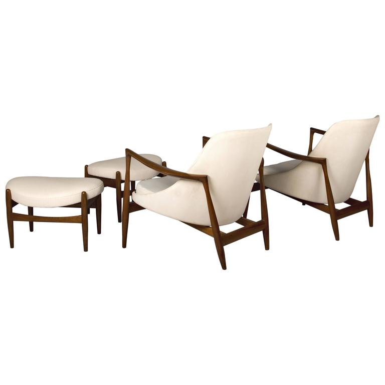 Pair of Ib Kofod-Larsen Elizabeth Chairs and Ottomans, by Christensen or Larsen For Sale