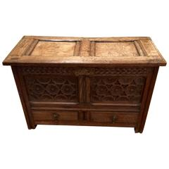 Arts & Crafts Small Carved Oak Chest