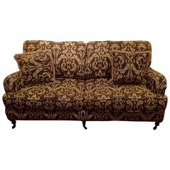 Handsome Brown and Cream Ikat Upholstered Couch