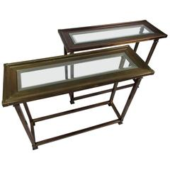Mid Century Mastercraft Style Brass Console Tables