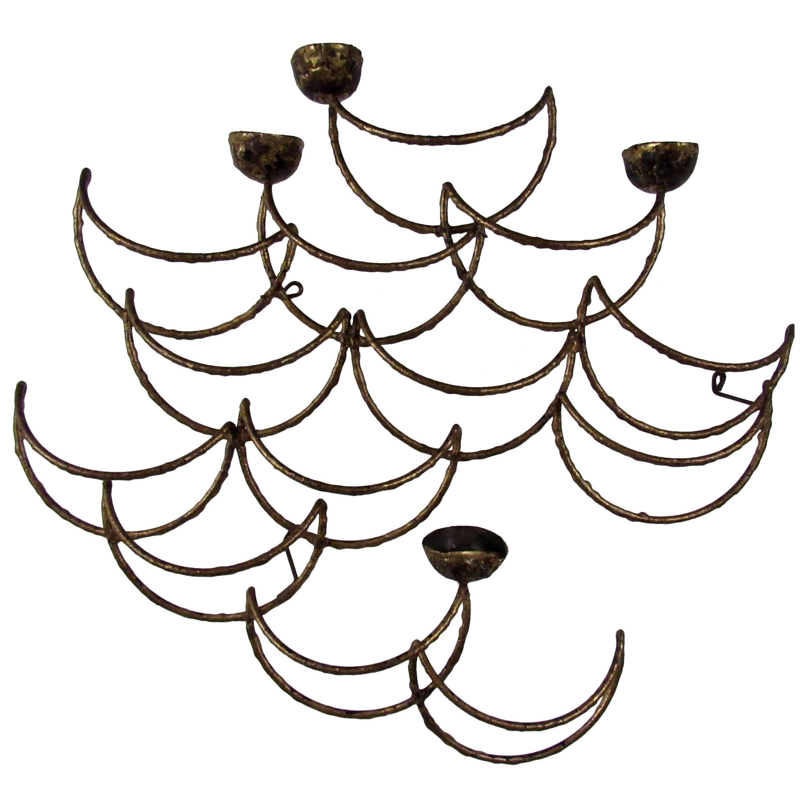 Midcentury Sculptural Candle Wall Sconce by C-Jere