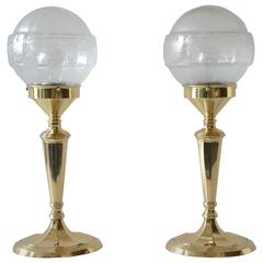 Pair of Table Lamps with Oval Base and Original Glass