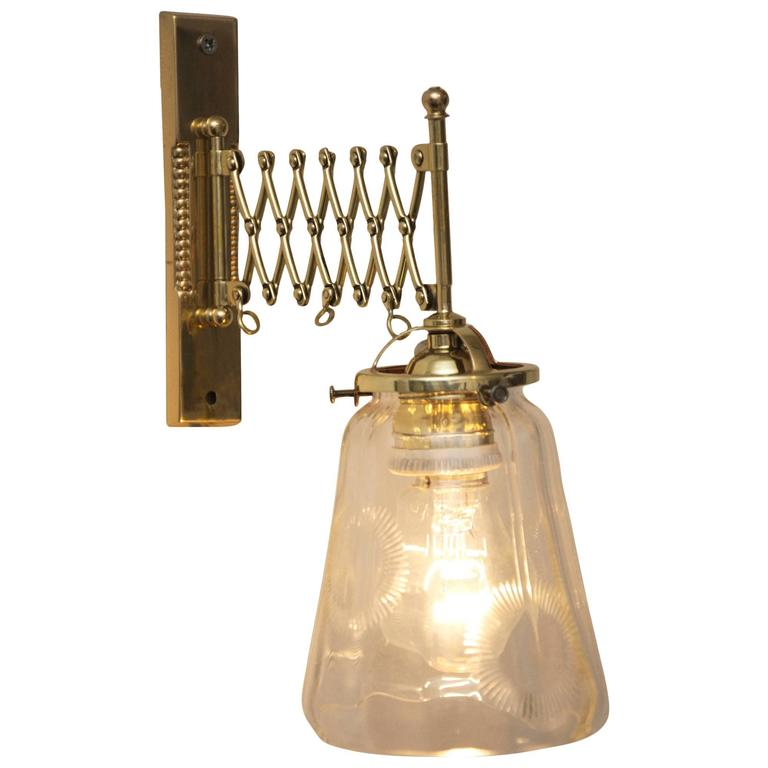 Wall Lamps Extendable : Art Deco Extendable Wall Lamp with Clear Cut Glass For Sale at 1stdibs
