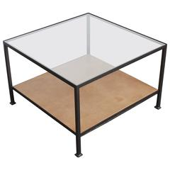 Custom-Made Marcelo Coffee Table with Clear Glass Top