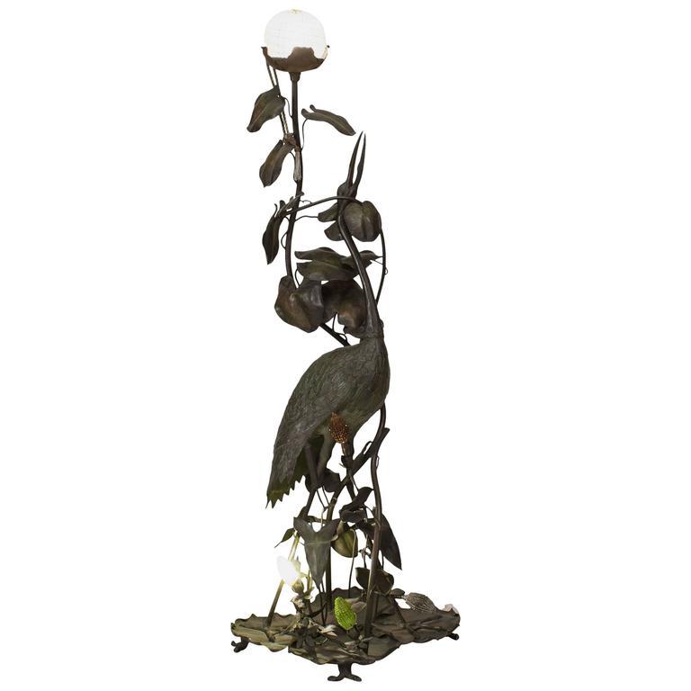 Tall French Art Nouveau Heron Floor Lamp
