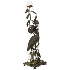 Tall French Art Nouveau Heron Floor Lamp
