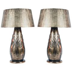 Pair of Bronze Table Lamps by Régis Royant