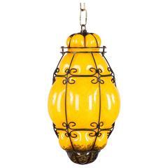 Midcentury Caged Murano Glass Pendant Lantern, Italy 1950s