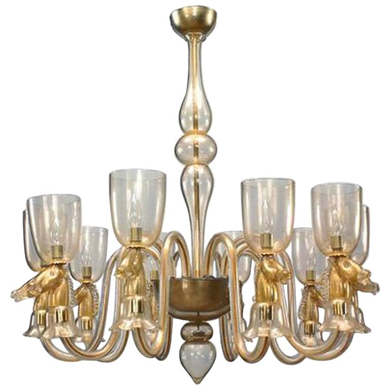 1940's Italian Gold-Dusted Murano Glass Chandelier Attributed to Seguso