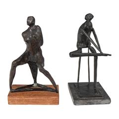 Pair of Patinated Bronze Abstract Figures, in the Manner of Milton Hebald