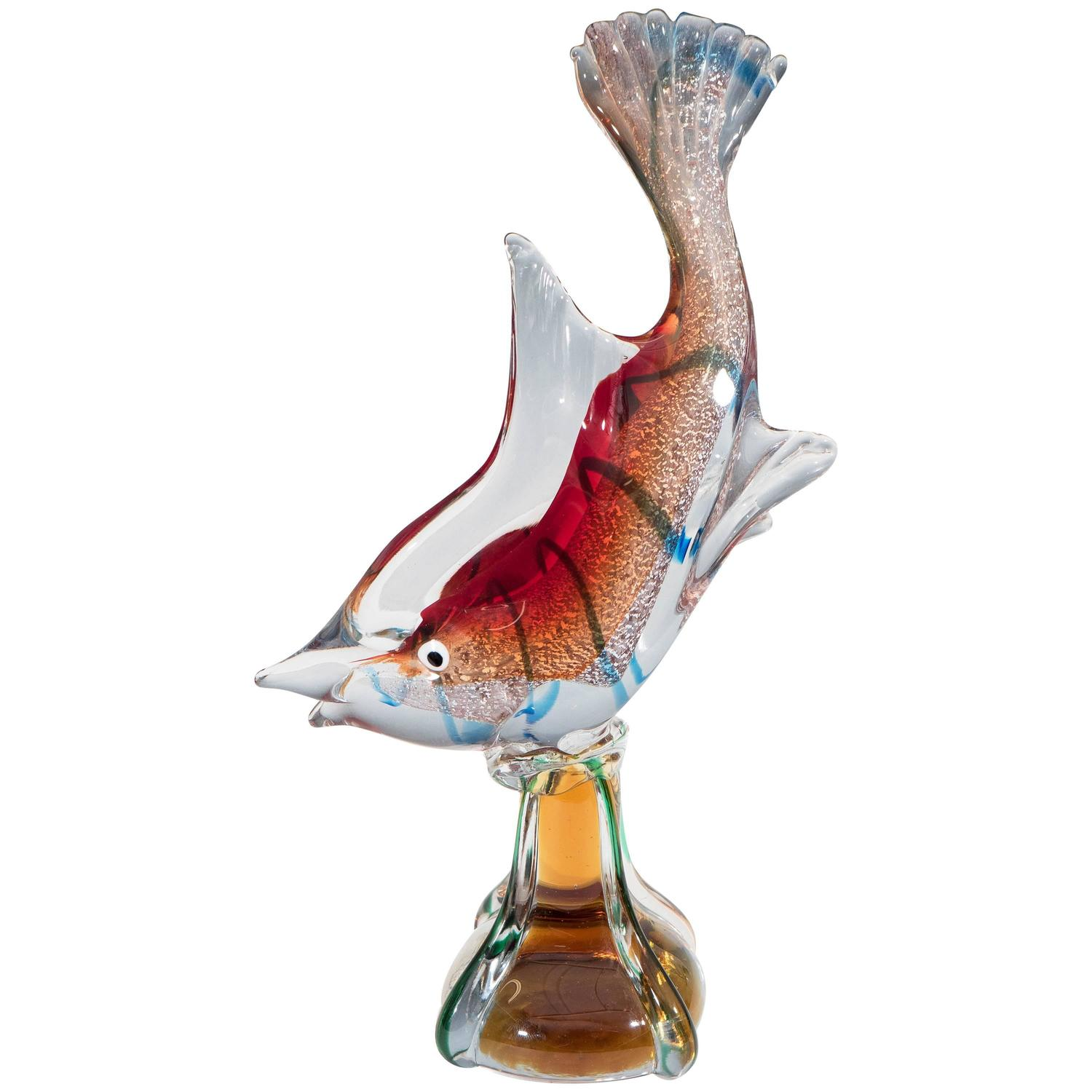 Murano glass sommerso sculptural fish with white gold for for Murano glass fish