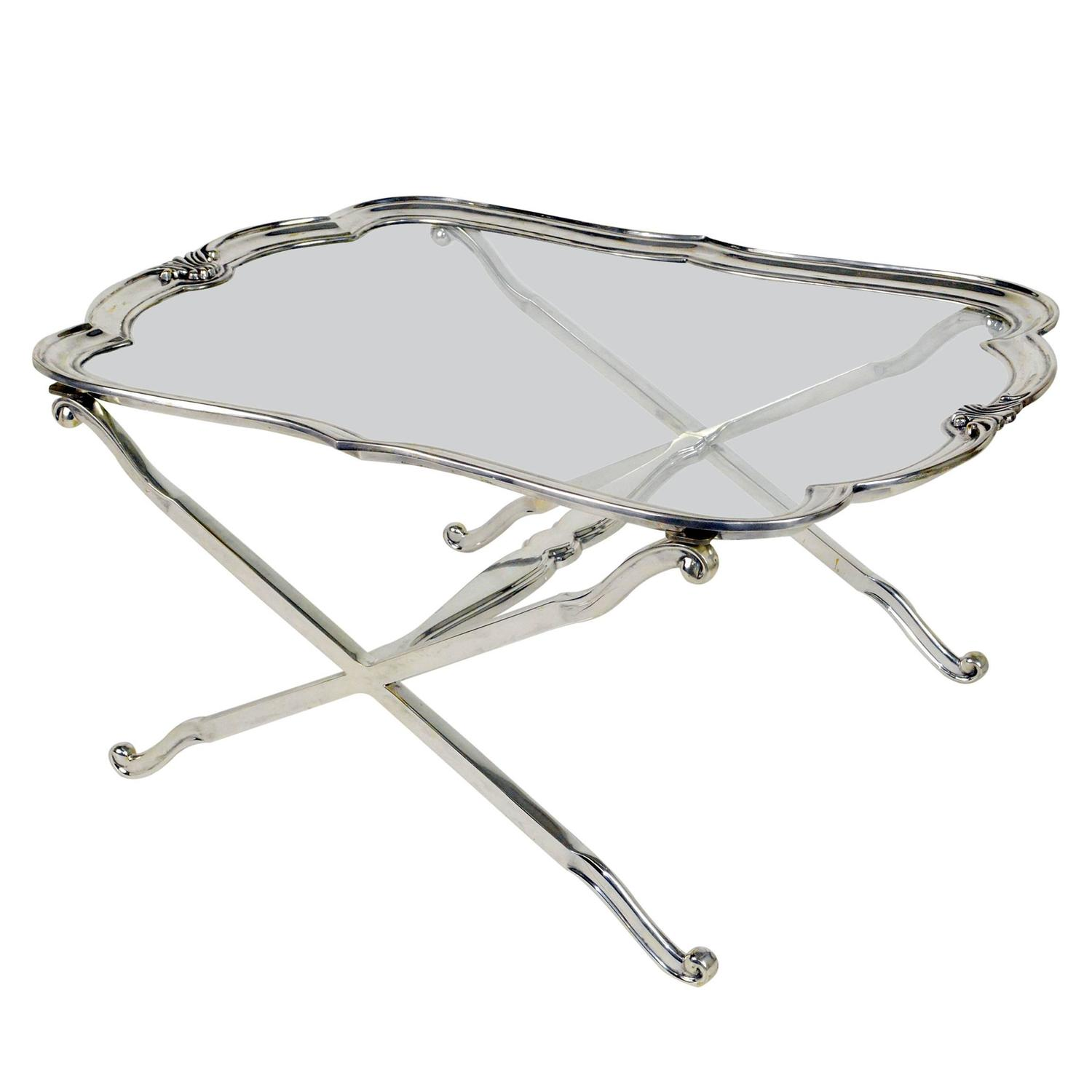 Regency Style Silver Plated And Glass Coffee Table For Sale At 1stdibs