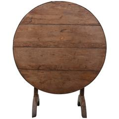French Mid-19th Century Fruitwood Tilt-Top Wine Tasting Table