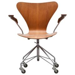 1950's brown, teak plywood Swivel Armchair by Arne Jacobsen