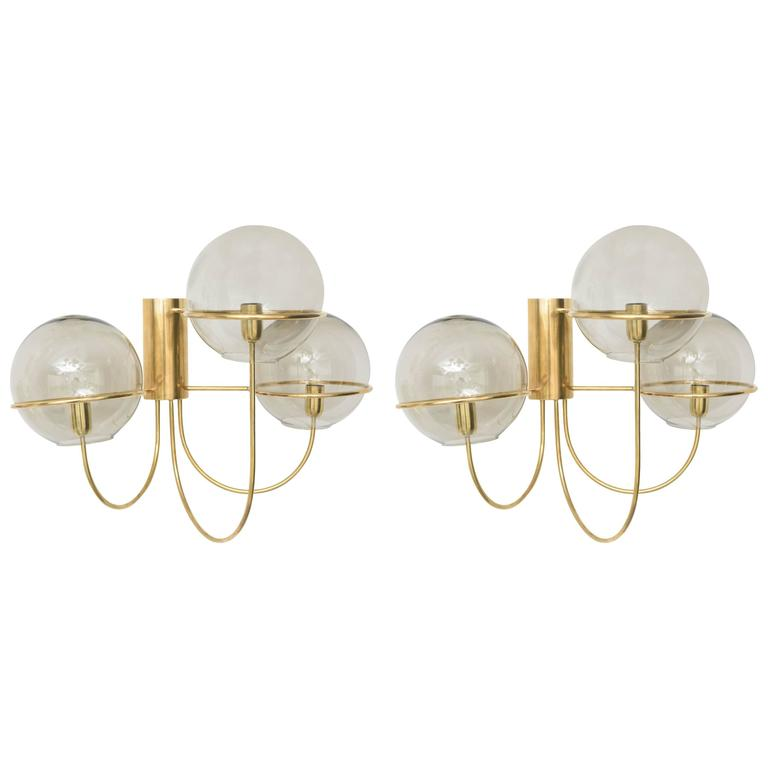 Pair Of Mid Century Modern Brass Wall Sconces, Manner Of Vico Magistretti  For Sale