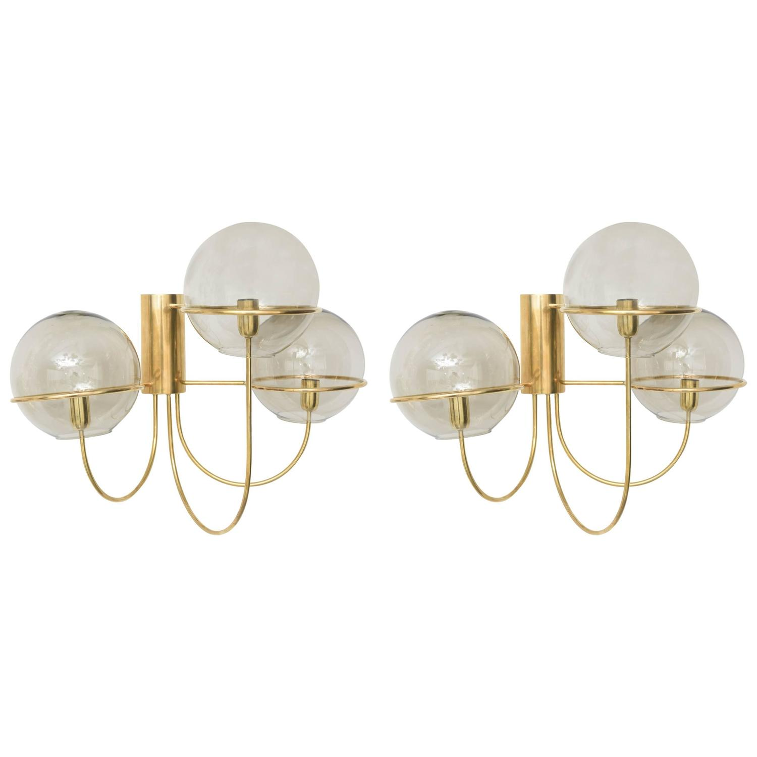 Wall Sconces Mid Century : Pair Large Mid-Century Modern Polished Brass Wall Sconces, Star Leuchten Koeln For Sale at 1stdibs