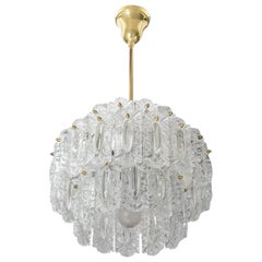 Hollywood Regency Style Glass and Brass Chandelier, Germany 1960s