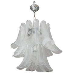 "Mid-Century Modern Polished Chrome and Murano Glass ""Petal"" Chandelier, Mazzega"