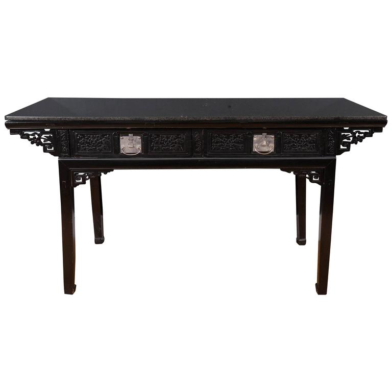 19th Century Black Lacquer Chinese Alter Table 1