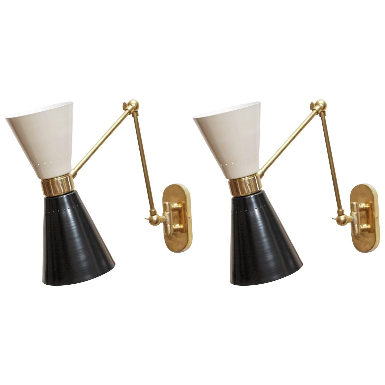 Pair of Italian Two-Light Articulating Sconces, circa 1950s at 1stdibs