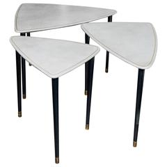 Set of Three Tables in the Style of Aldo Tura