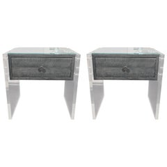Pair of Gunmetal Gray Python Nightstands with Lucite Side Panels
