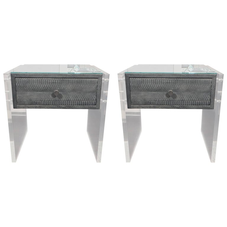 Pair of Gunmetal Gray Python Nightstands with Lucite Side Panels For Sale