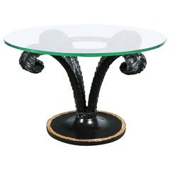 Hollywood Regency Style Ebonized Glass Top Palm Leaf Coffee Table Gilt Border