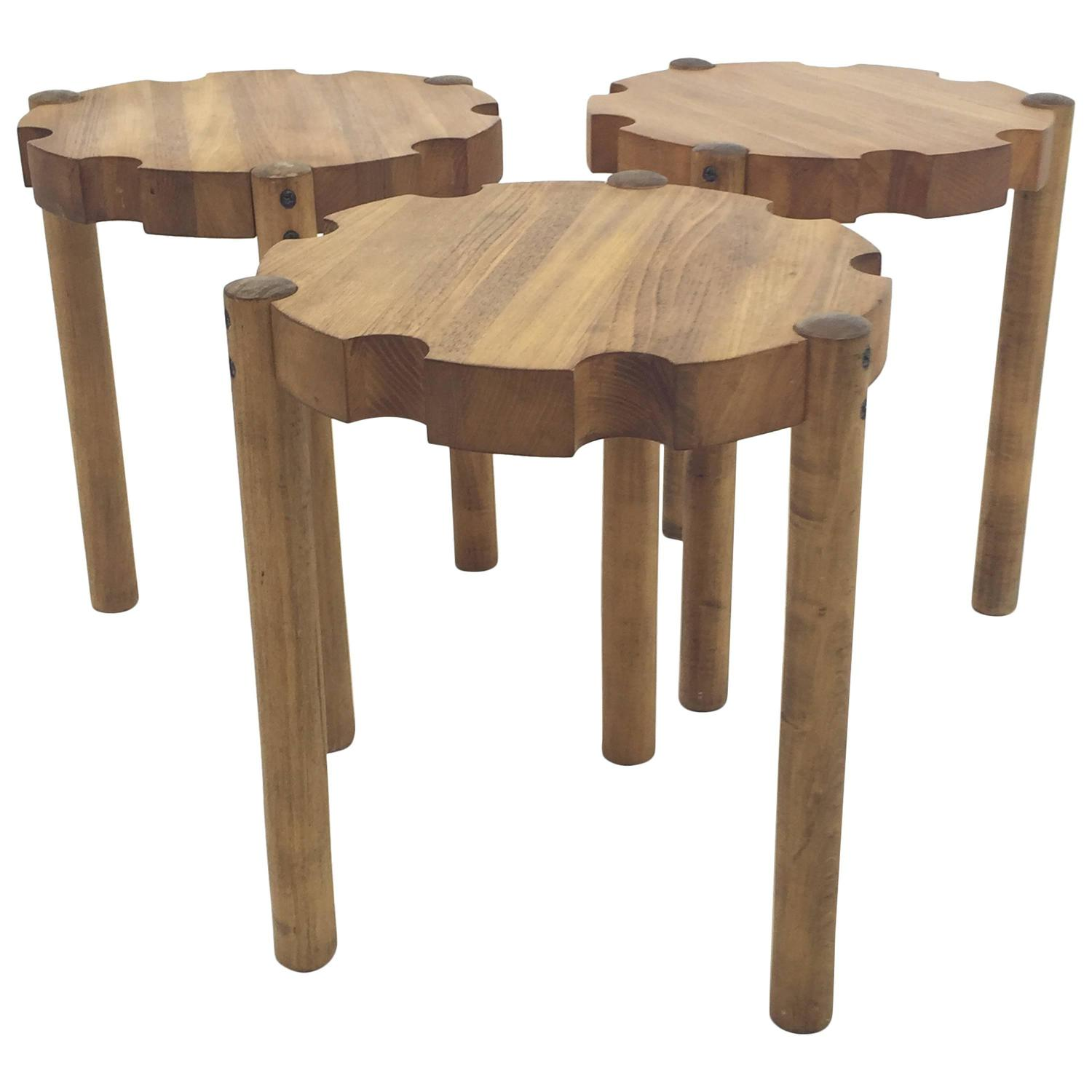 Clever trio of solid wood stacking stools at stdibs