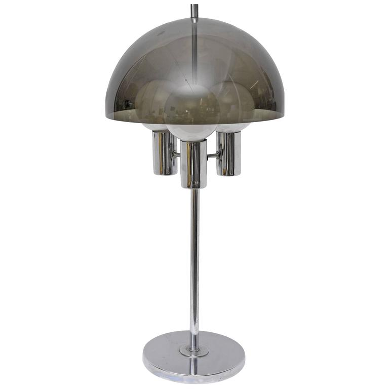 Chrome and Smoked Lucite Tall Table Lamp, 1960s, USA