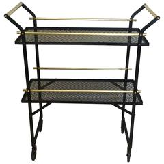 Very Unusual French Black Metal and Brass Bar Cart
