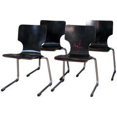 Set of Four Black Mid-Century Modern Chairs