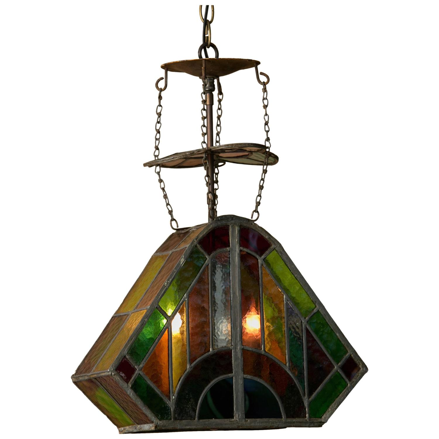 antique arts and crafts leaded stained glass lantern for sale at. Black Bedroom Furniture Sets. Home Design Ideas