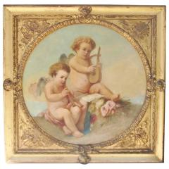 Large Antique French Oil on Canvas in Original Giltwood Frame