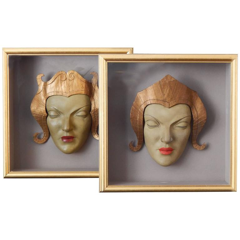 Fabulous Pair of Art Deco Masks in Asian Headdresses, Shadow Boxed
