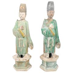 Two Funerary Earthenware Figures, China