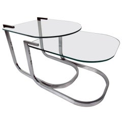 Set of Midcentury Chrome and Glass Nesting Tables by DIA