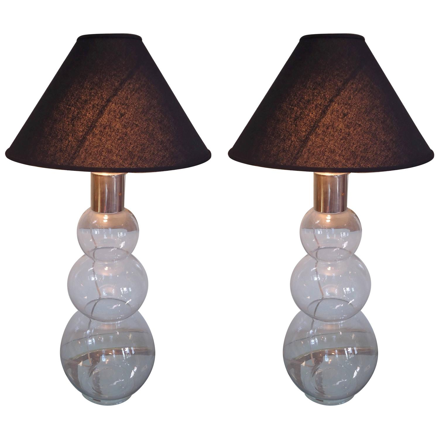 Pair Of Mid Century Modern Tall Bubble Lamps At 1stdibs