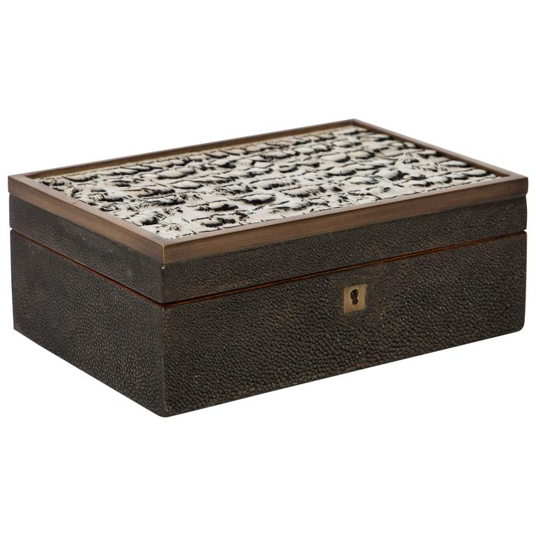 Genuine Shagreen Jewelry Box with Exotic Feather Accents at 1stdibs
