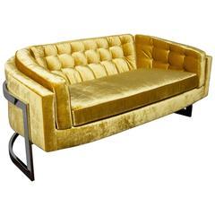 Midcentury Sofa in Citrine Velvet Designed by Milo Baughman