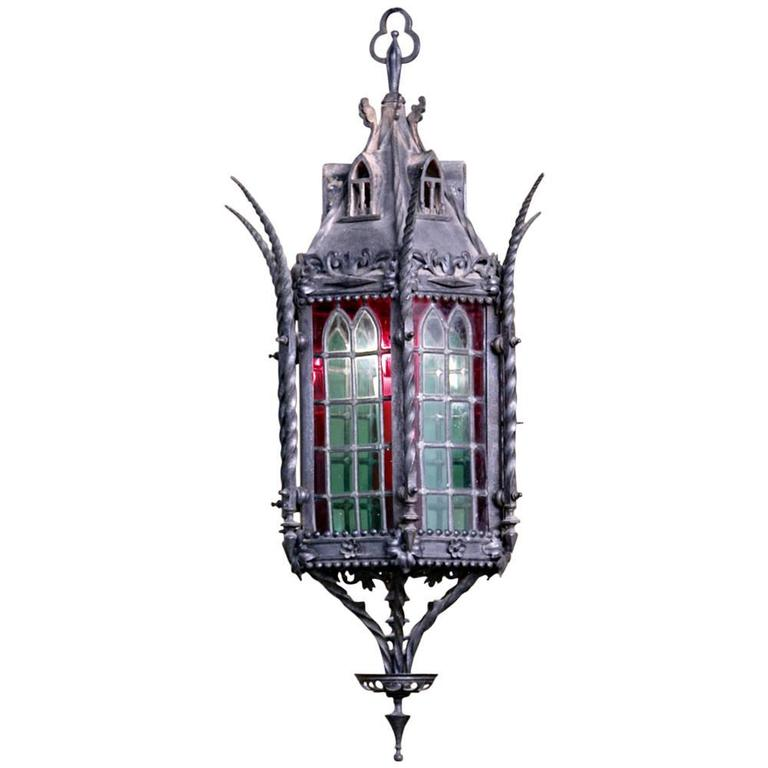 Wrought iron lantern chandelier with stained glass at 1stdibs wrought iron lantern chandelier with stained glass for sale aloadofball Image collections