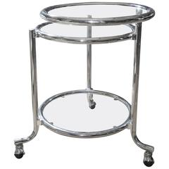 Mid-Century Chrome Swivel Top Occasional Table on Castrrs