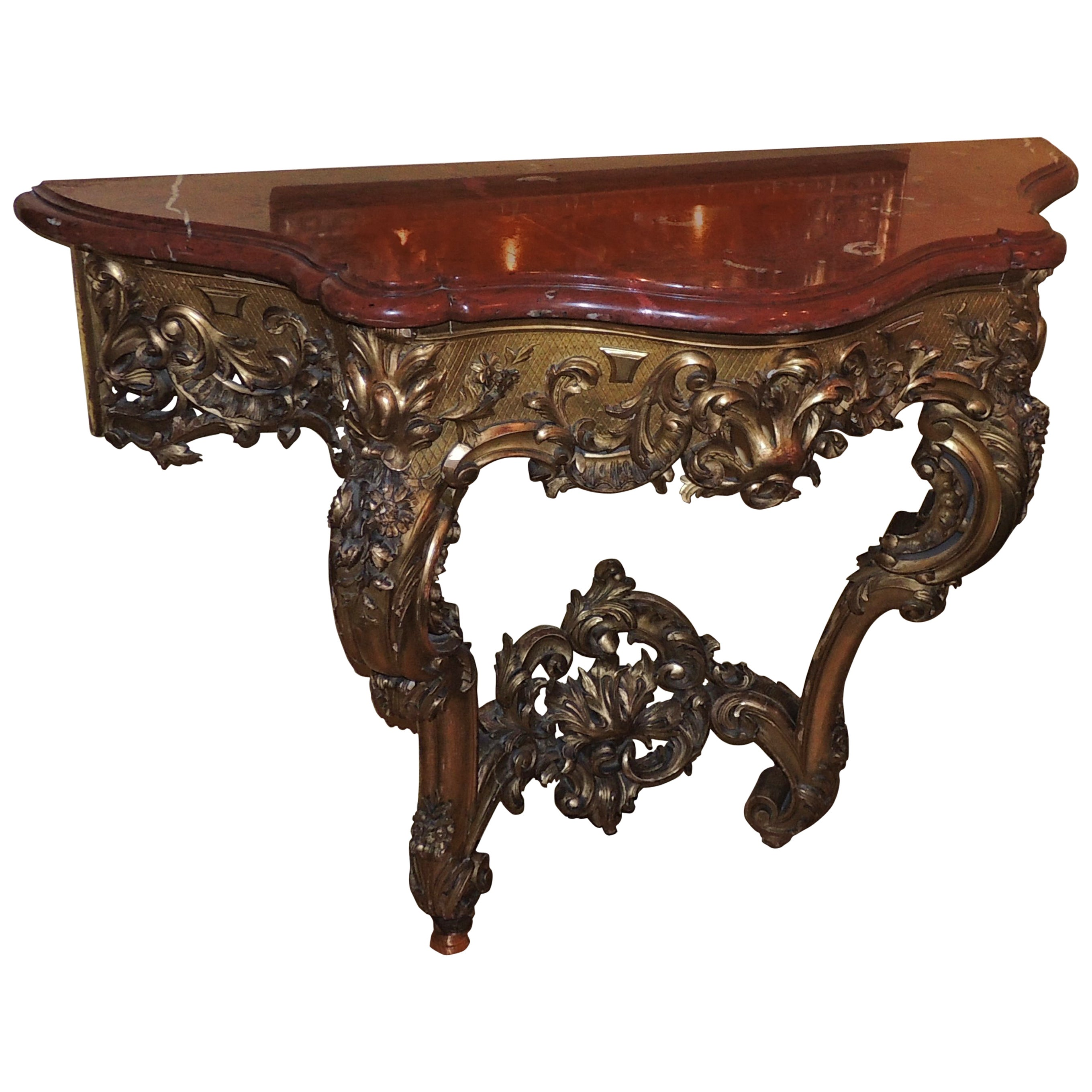 Elegant French 19th Century Carved Giltwood Console with Rouge Marble Top
