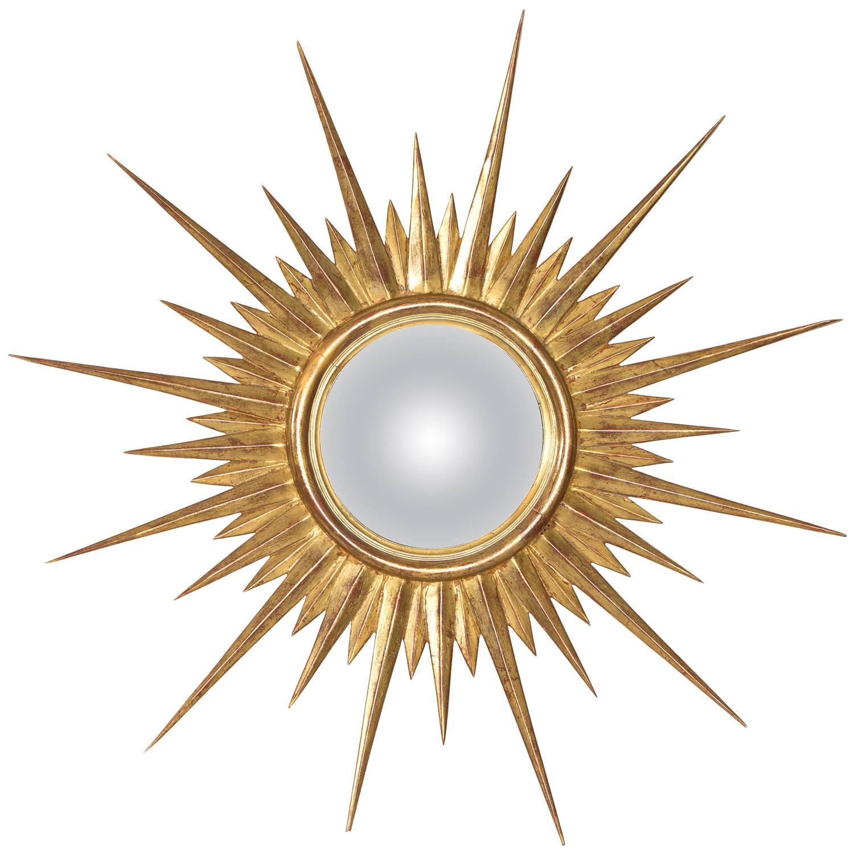 Antique gold leaf sunburst mirror at 1stdibs for Sunburst mirror