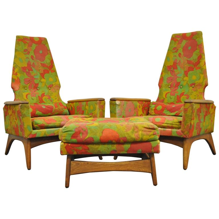 Pair of Tall Back Walnut Lounge Chairs and Ottoman after Adrian Pearsall, Modern