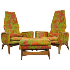 Pair Kroehler High Back Adrian Pearsall Style Walnut Lounge Chairs and Ottoman