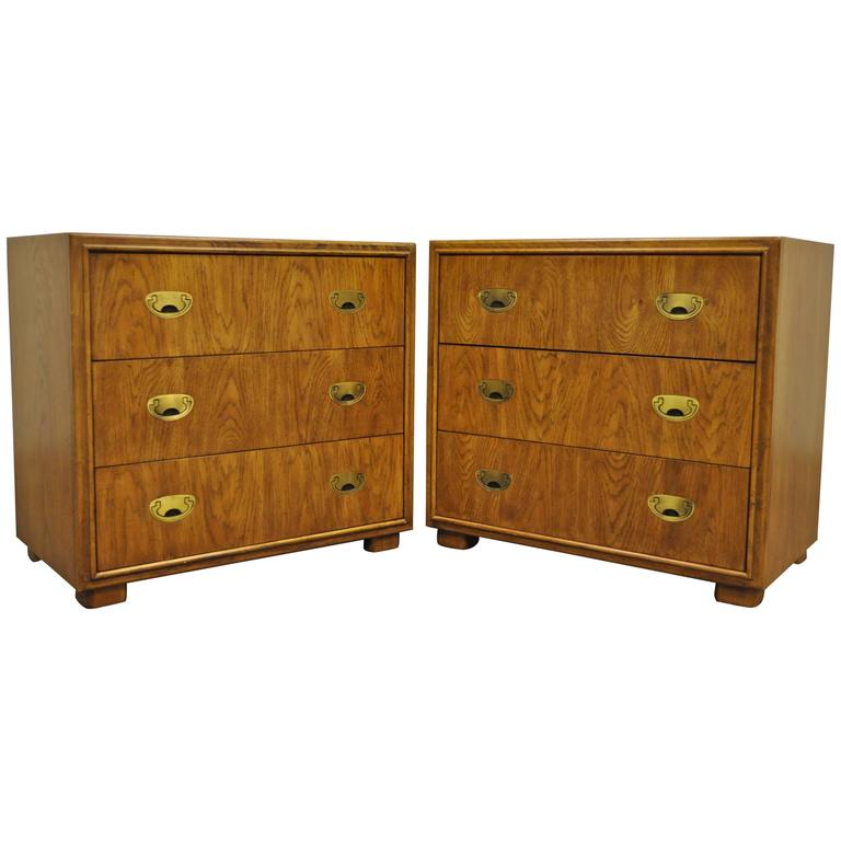 Pair Of Campaign Style Bachelor Chests Or Bedside Tables