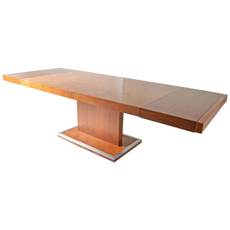 Milo Baughman Walnut Pedestal Dining Table For Founders