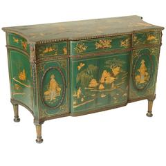 Green Chinoiserie Decorated George III Cabinet