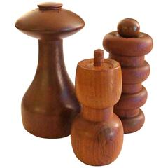 Trio of Teak Salt and Pepper Shakers Designed by Quistgaard for Dansk